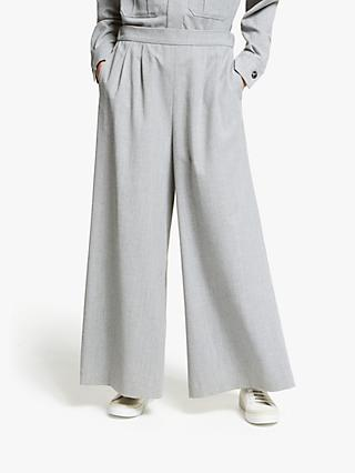 Kin Wide Leg Cropped Wool Trousers, Grey