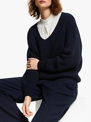 Modern Rarity Ribbed V-Neck Jumper