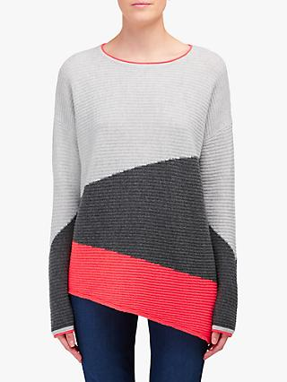 Cocoa Cashmere Diagonal Stripe Ribbed Jumper, Cloud/Ash