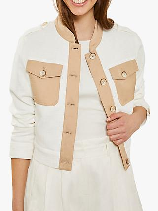 Mint Velvet Ivory Blocked Casual Jacket, Ivory/Camel