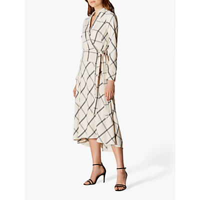 Karen Millen Check Midi Dress, Black/White