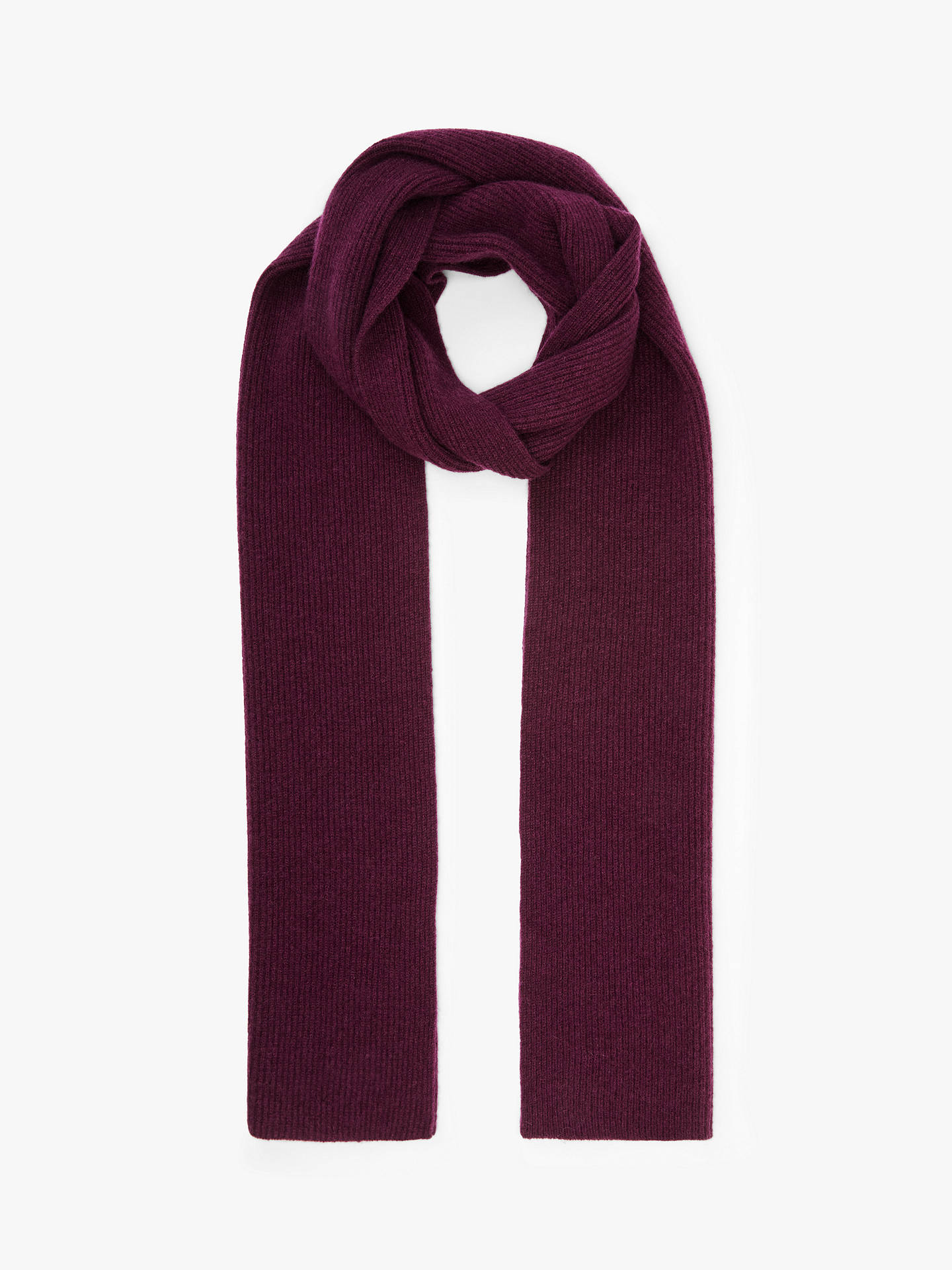 Buy John Lewis & Partners Ribbed Cashmere Scarf, Red, One Size Online at johnlewis.com