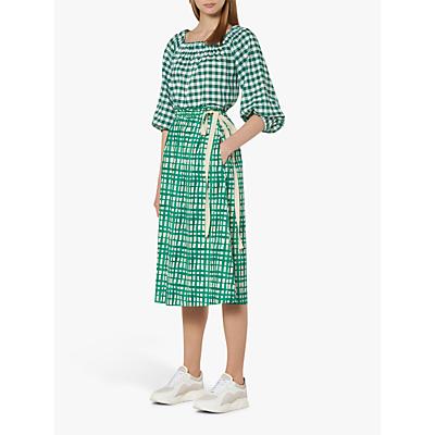 L.K.Bennett Violet Painterly Check Skirt, Green/White