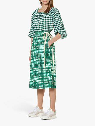 L.K.Bennett Violet Painterly Check Skirt, Green/White