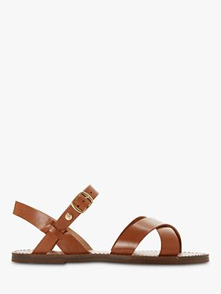 Dune Lavell Wide Fit Cross Strap Leather Sandals, Tan