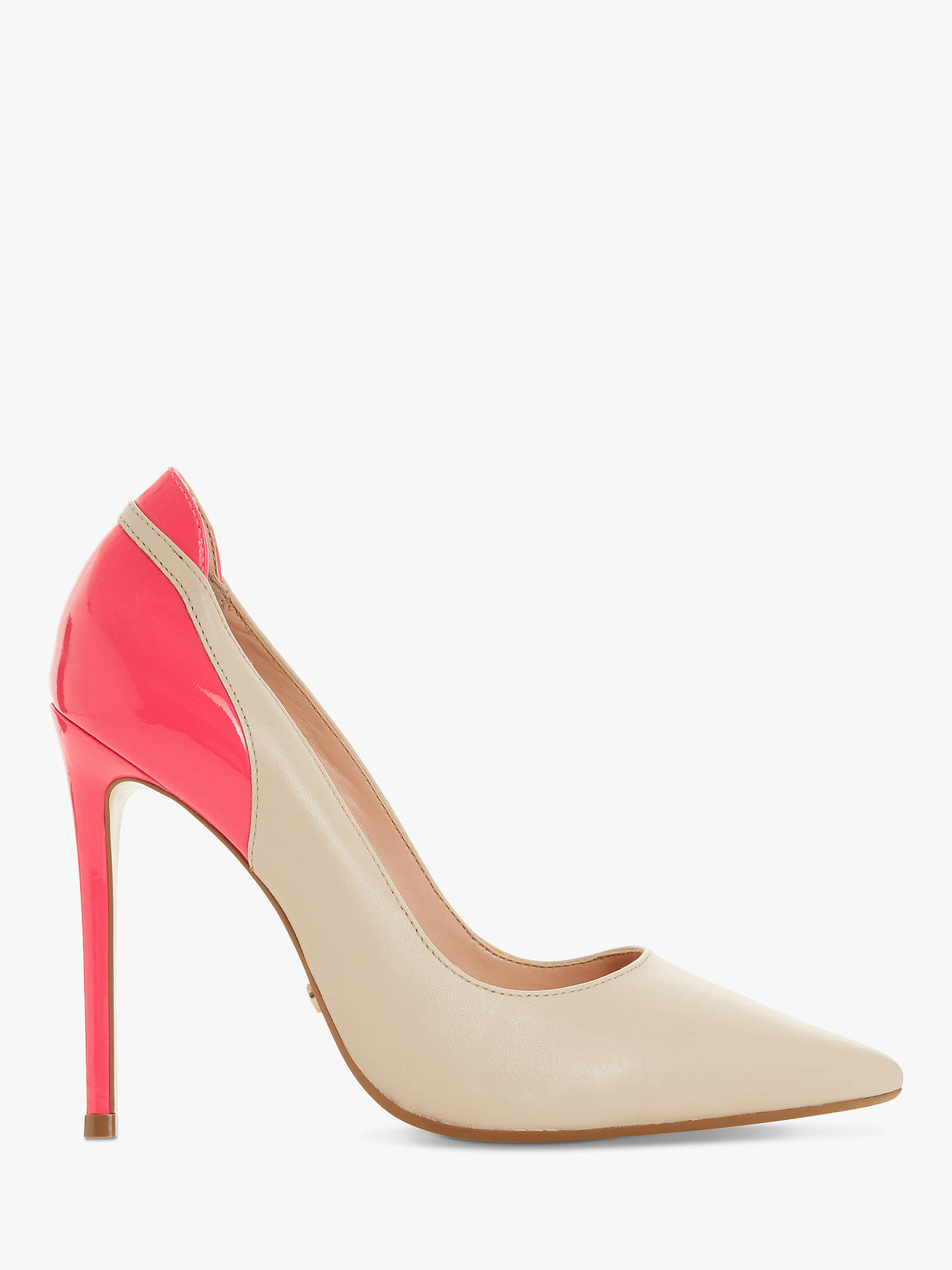 b1479a290a47 Buy Dune Barbee Leather Stiletto Heel Court Shoes, Nude/Pink, 3 Online at  ...