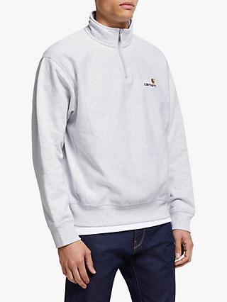 Carhartt WIP Half Zip American Script Top, Ash Heather