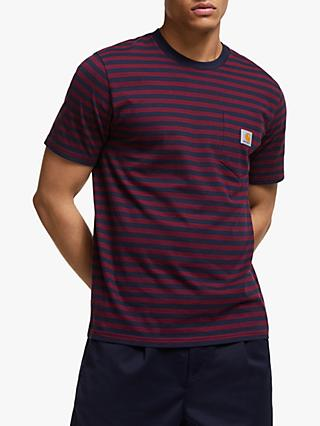Carhartt WIP Stripe Cotton Pocket T-Shirt, Dark Navy/Merlot