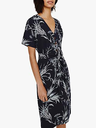 Warehouse Leaf Print Midi Dress, Blue