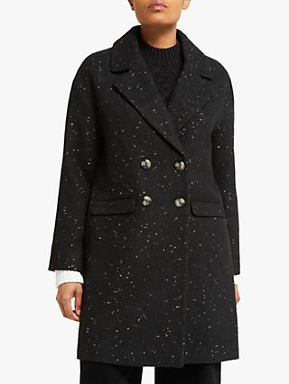 Collection WEEKEND by John Lewis Double Breasted Coat, Black/Gold