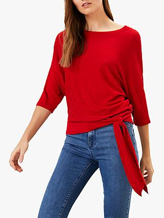 Phase Eight Rosie Ripple Tie Side Knit, Cherry Red