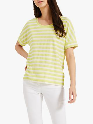 Phase Eight Kitty Loopback Textured Stripe T-Shirt, Lime Zest/White