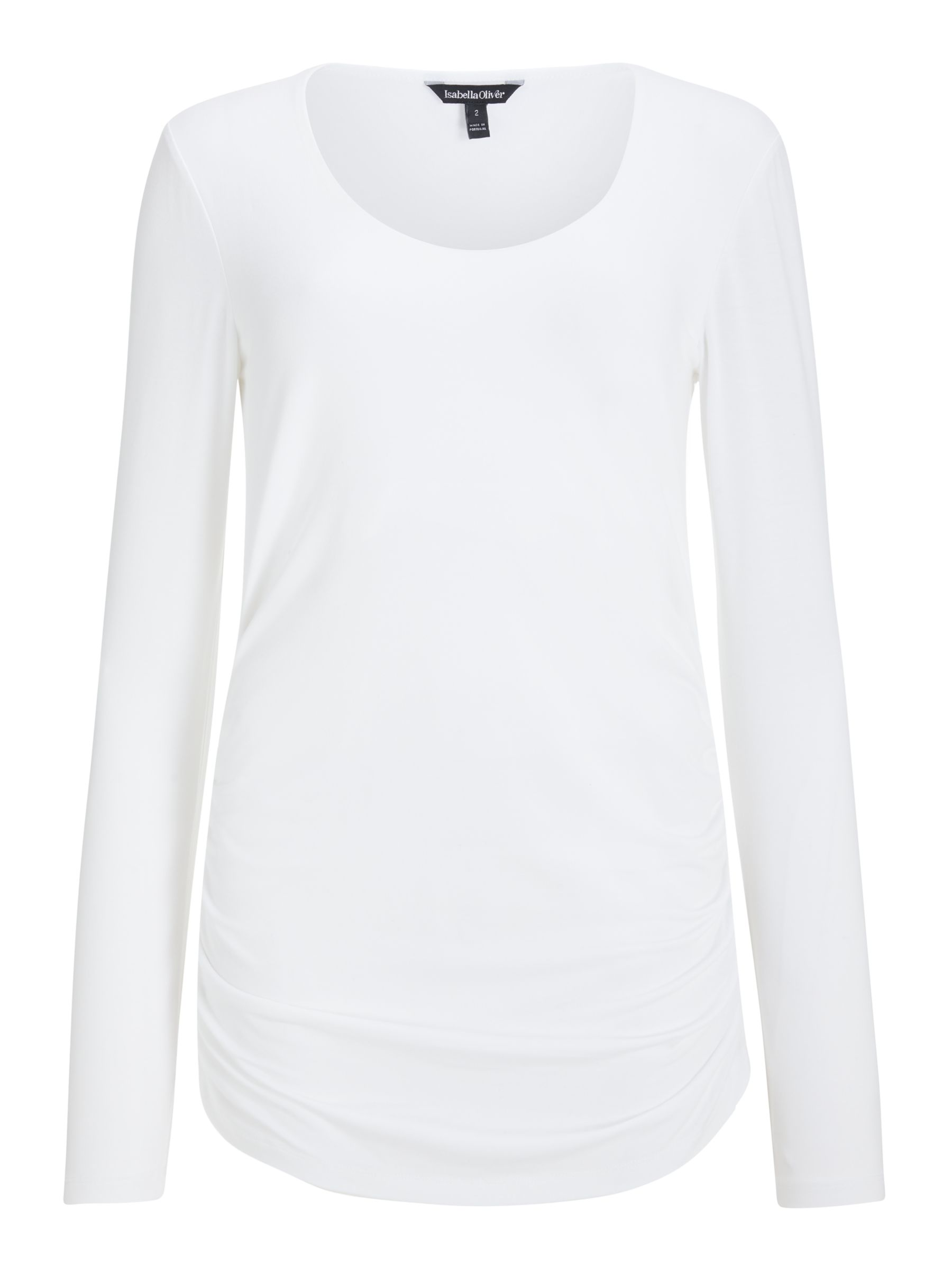 Isabella Oliver Isabella Oliver Long Sleeve Scoop Neck Maternity Top, White