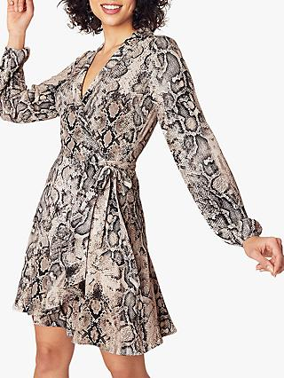 Oasis Snake Print Wrap Dress, Multi