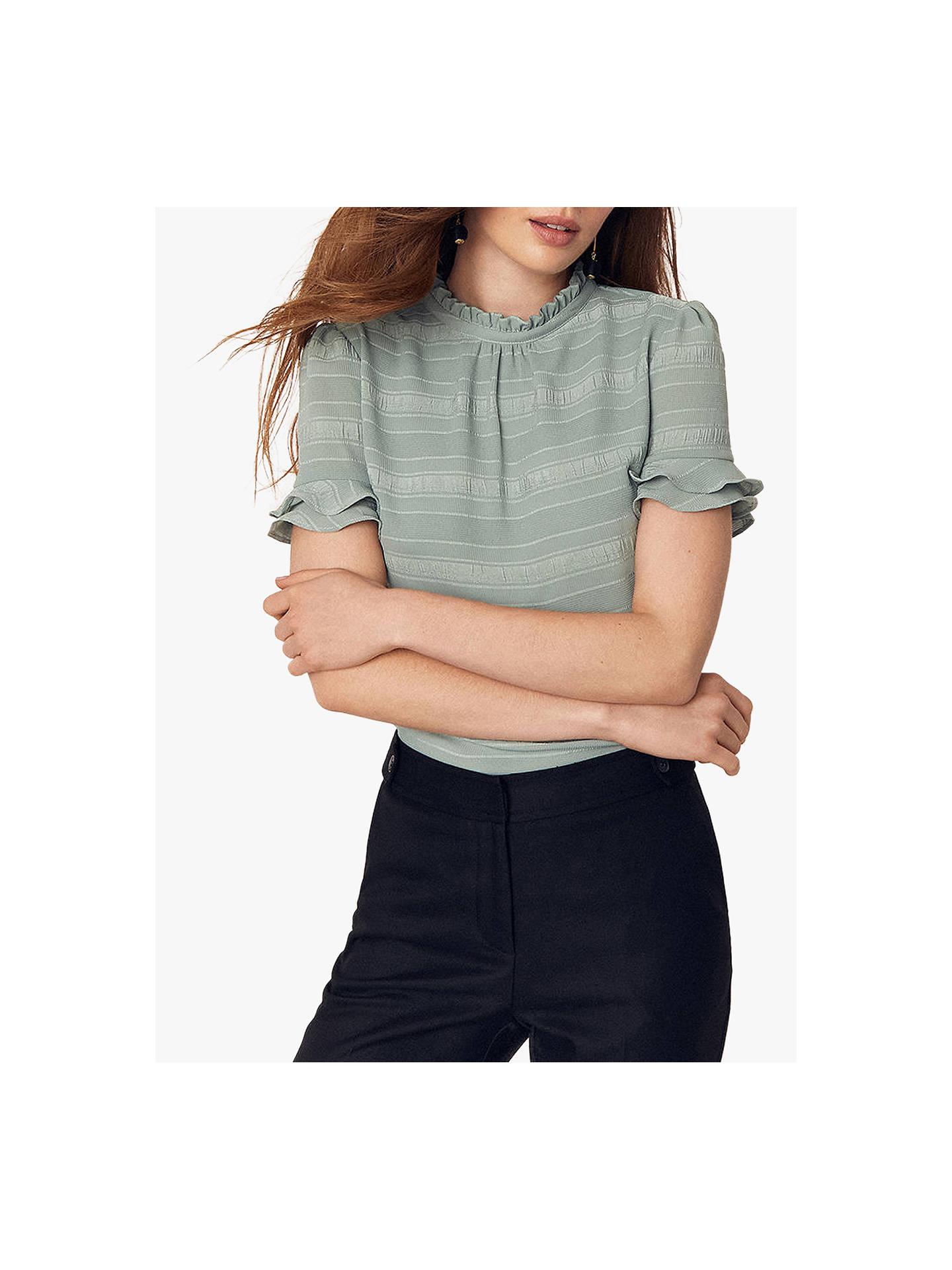 Oasis Stripe Frill Top, Khaki by Oasis