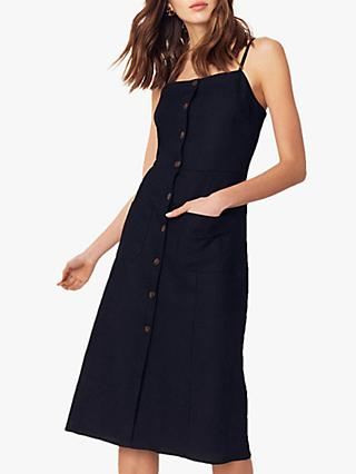 Oasis Sleeveless Button Through Linen Blend Dress, Black