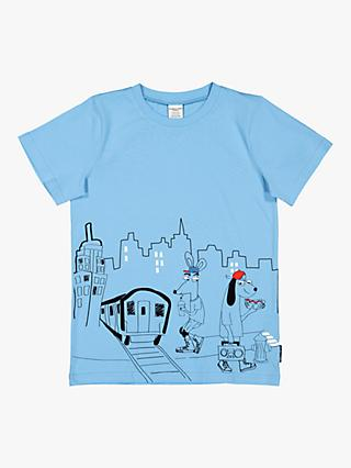 95efa6525 Polarn O. Pyret Children's GOTS Organic Cotton Graphic Print T-Shirt, Blue