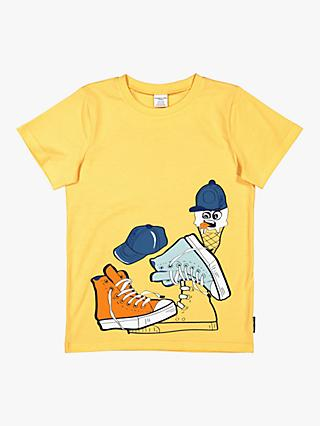 Polarn O. Pyret Children's GOTS Organic Cotton Graphic Print T-Shirt, Yellow