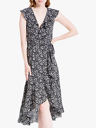Max Studio Ditsy Floral Print Wrap Dress, Black/Ivory