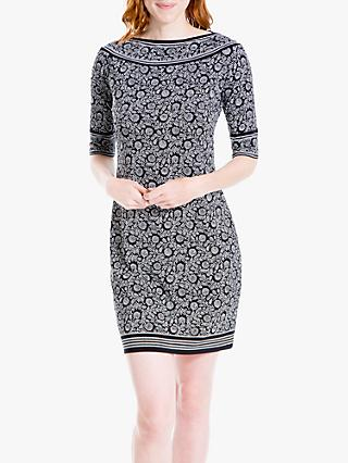 Max Studio Floral Print Jersey Dress, Black/Ivory