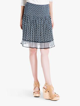 Max Studio Pleated Print Skirt, Black/Blue