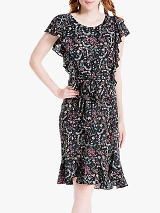Max Studio Floral Print Tie Waist Dress, Black/Pink