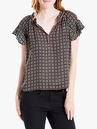 Max Studio Geo Print Short Sleeve Top, Navy/Terracotta