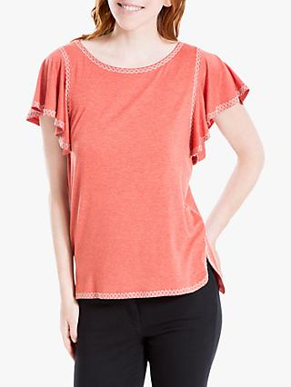 Max Studio Embroidered Jersey Top, Heather Rust