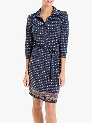 Max Studio Printed Jersey Shirt Dress, Blue