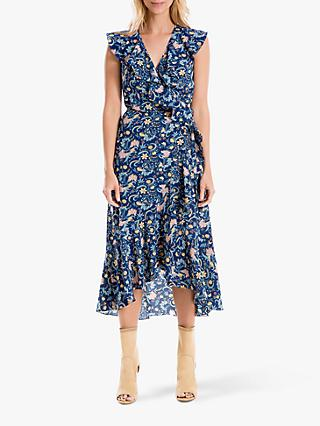 Max Studio Printed Wrap Dress, Navy/Gold