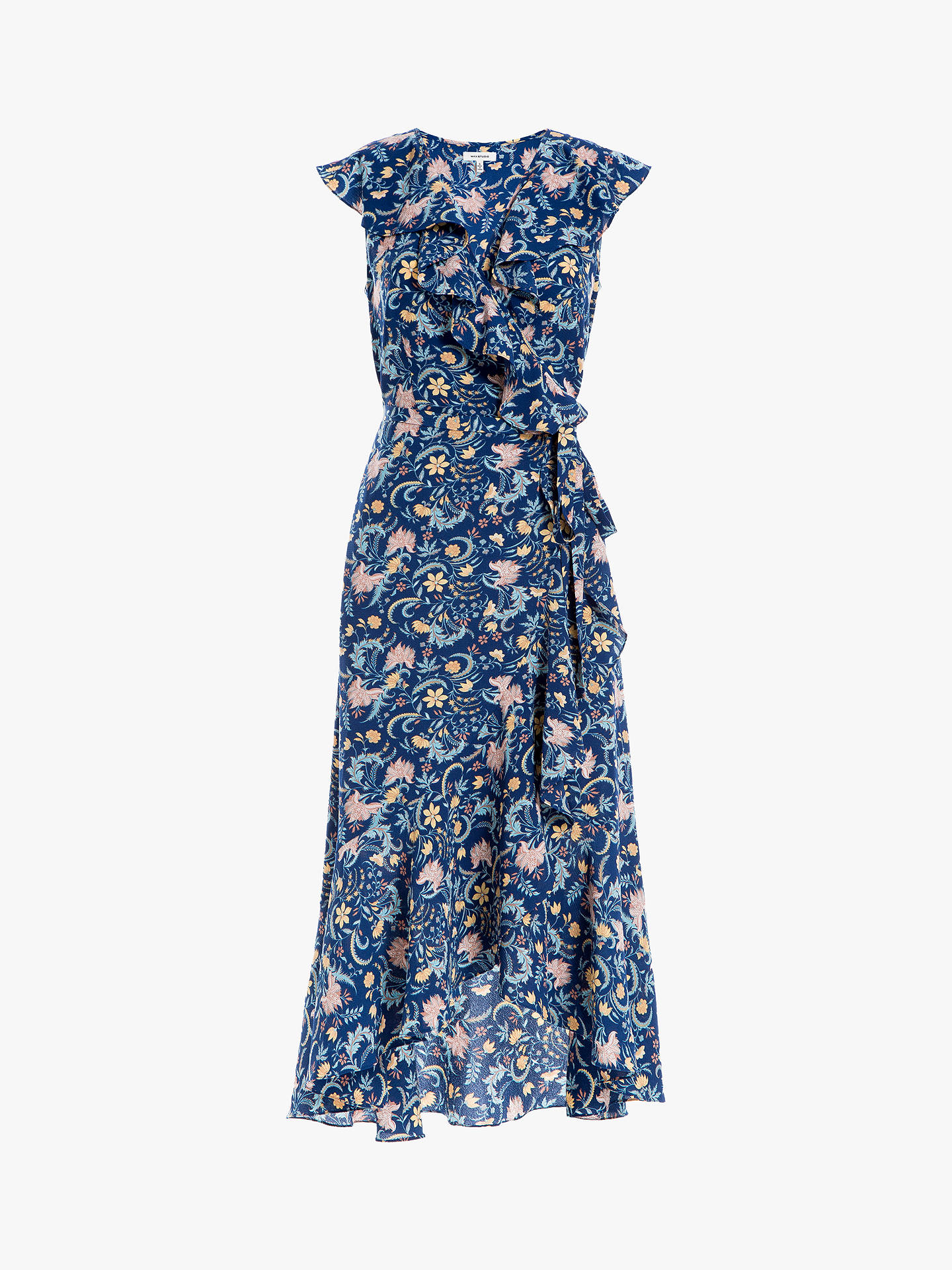 Buy Max Studio Printed Wrap Dress, Navy/Gold, XS Online at johnlewis.com