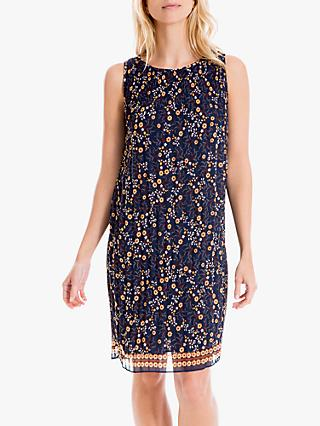 Max Studio Pleated Floral Print Sleeveless Dress, Navy/Gold
