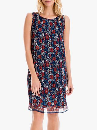 Max Studio Pleated Floral Print Dress, Navy/Terracotta