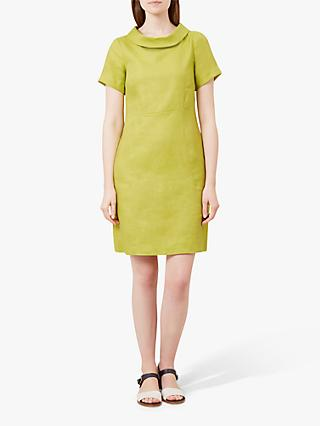 Hobbs Petra Linen Dress, Bright Lime