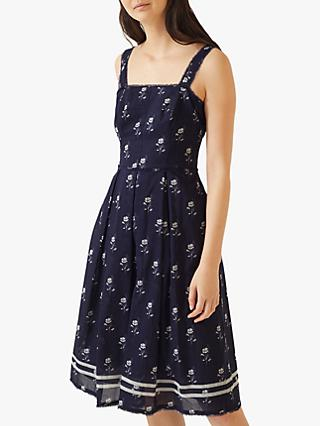 71536ab73 Jigsaw Field Flower Cotton Dress, Navy/White