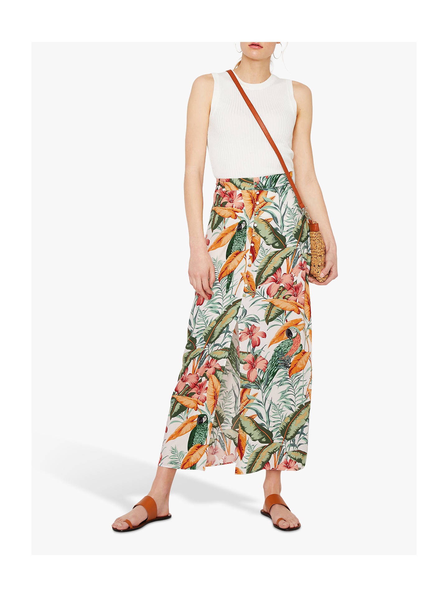 Warehouse Tropical Parrot Skirt, Neutral/Multi