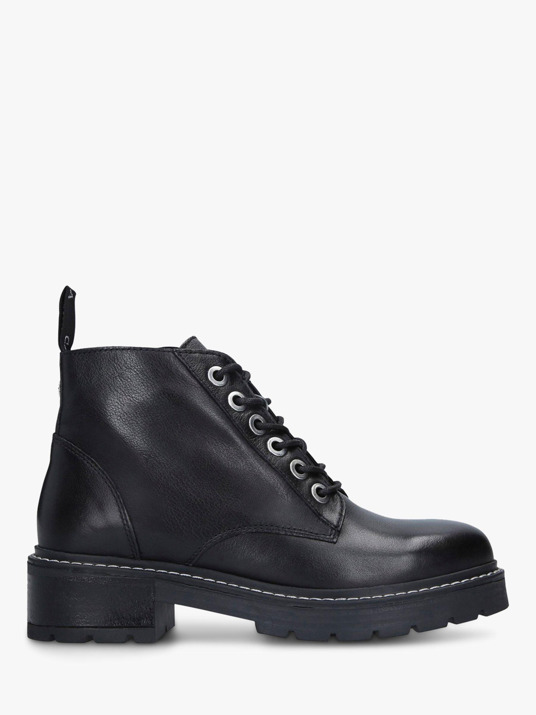 Carvela Carvela Trinket Lace Up Leather Ankle Boots, Black