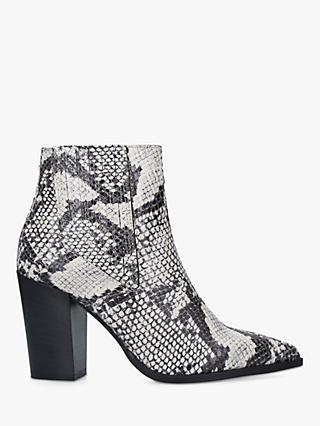 Carvela Sizzle Snake Block Heel Ankle Boots, Neutral