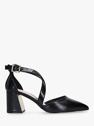 Carvela Koko Two Part Block Heel Court Shoes, Black