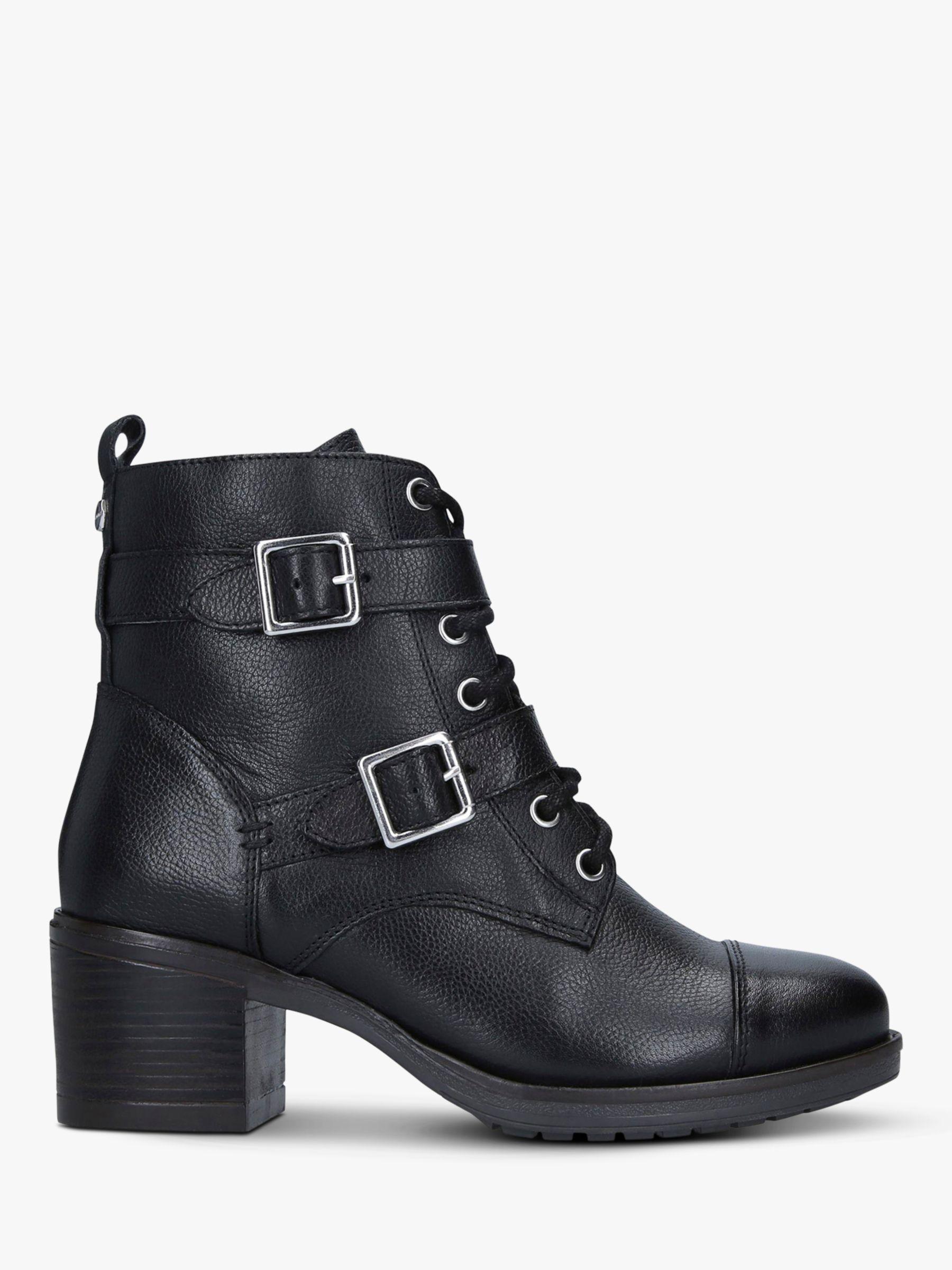Carvela Carvela Stacey Leather Buckle Strap Ankle Boots, Black