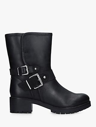 Carvela Solitary Leather Buckle Detail Calf Boots, Black