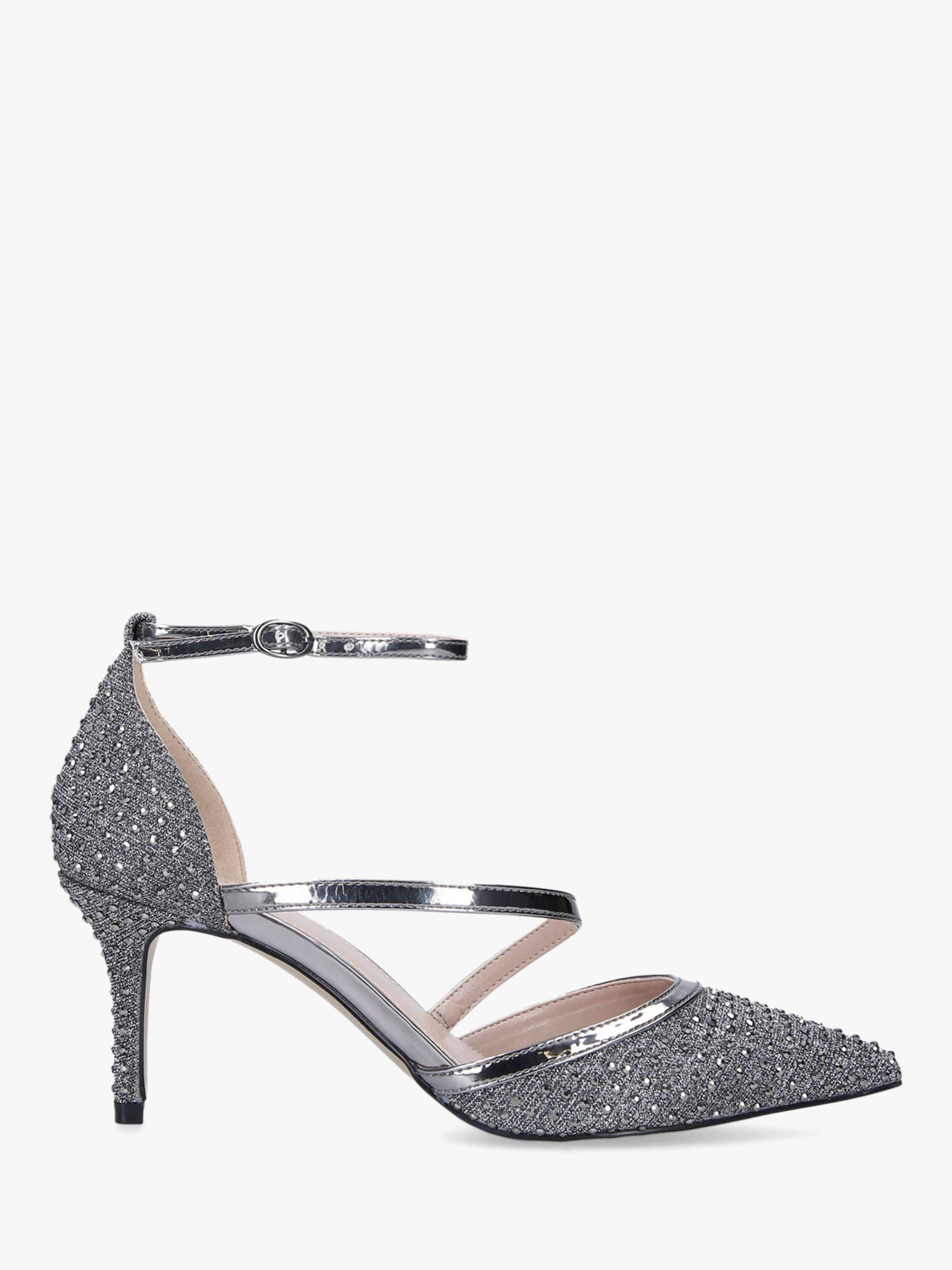 Carvela Carvela Kym Pointed Toe Cross Strap Heel Court Shoes, Grey Pewter