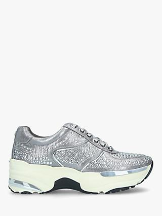 Carvela Lips Embellished Chunky Trainers, Silver