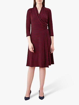 Hobbs April Wrap Dress, Red/Navy