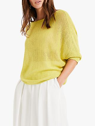 Phase Eight Delmi Linen Batwing Jumper, Yellow