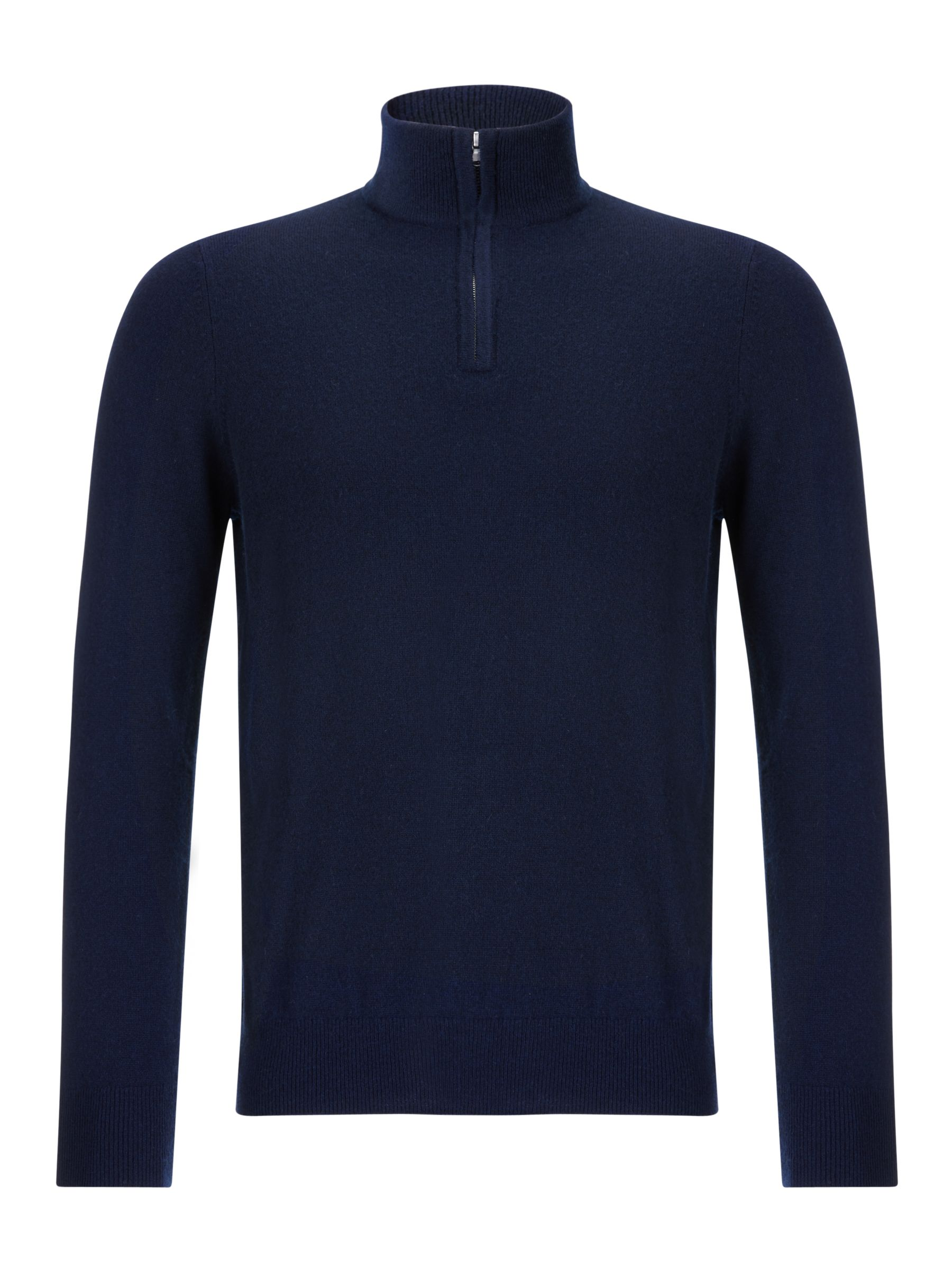 Buy John Lewis & Partners Cashmere Half Zip Jumper, Navy, S Online at johnlewis.com