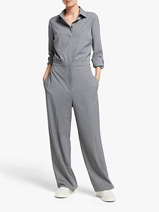 John Lewis & Partners Flannel Jumpsuit, Dark Grey