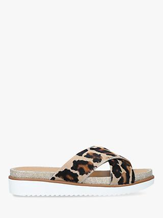 Carvela Kream Cross Strap Slide Sandals, Brown