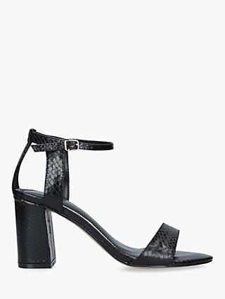 Carvela Kiki Snake Effect Block Heel Sandals, Black