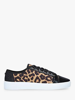 Carvela Jigsaw Suede Leopard Print Lace Up Trainers, Brown